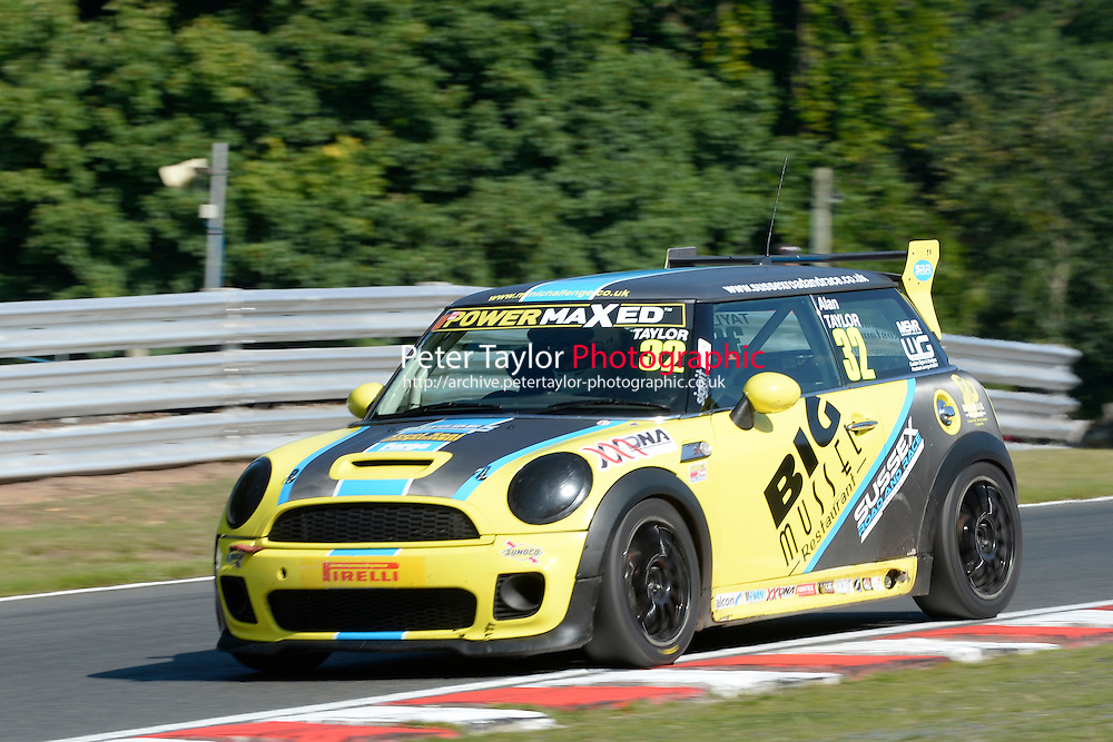 #32 Alan Taylor Mini JWC during Power Maxed Mini Challenge - F56/JCW - Qualifying  as part of the Mini Festival  at Oulton Park, Little Budworth, Cheshire, United Kingdom. August 08 2015. World Copyright Peter Taylor. Copy of publication required for printed pictures.  Every used picture is fee-liable. http://archive.petertaylor-photographic.co.uk