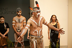 ADELAIDE, AUSTRALIA - Sunday, July 19, 2015: Karl Winda Telfe of Aboriginal dance group Paitya performs during a visit to the Art Gallery of South Australia ahead of a preseason friendly match against Adelaide United on day seven of the club's preseason tour. (Pic by David Rawcliffe/Propaganda)