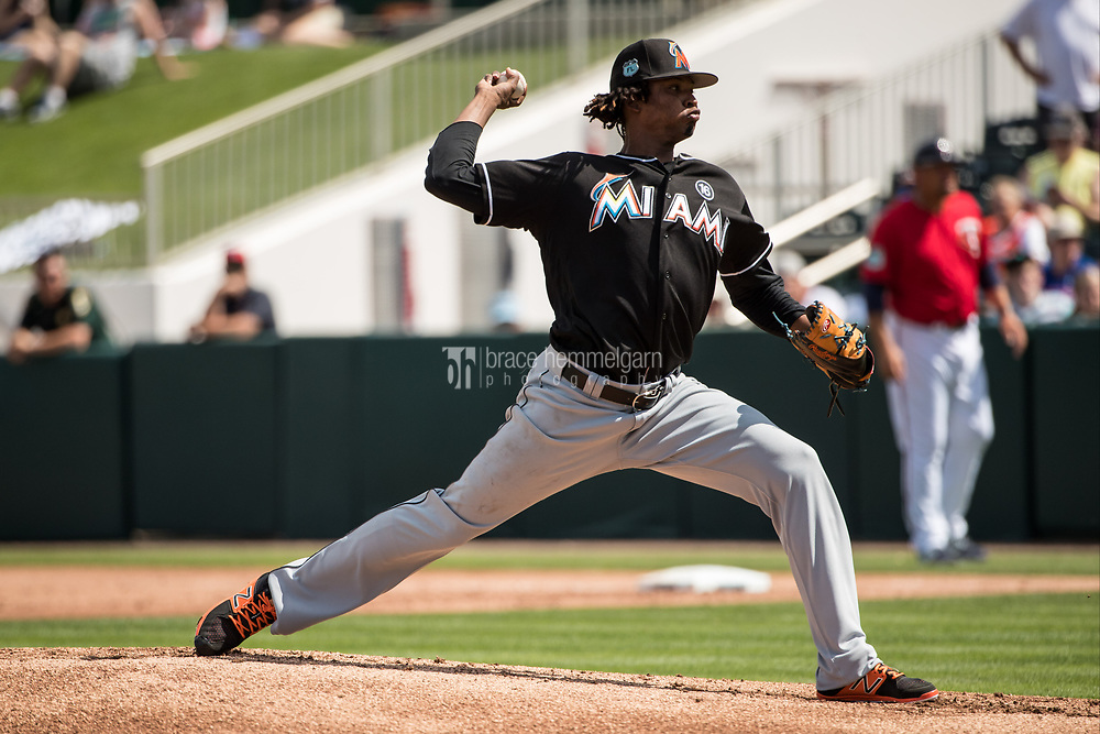 FORT MYERS, FL- FEBRUARY 27: Jose Urena #62 of the Miami Marlins pitches against the Minnesota Twins on February 27, 2017 at the CenturyLink Sports Complex in Fort Myers, Florida. (Photo by Brace Hemmelgarn) *** Local Caption *** Jose Urena