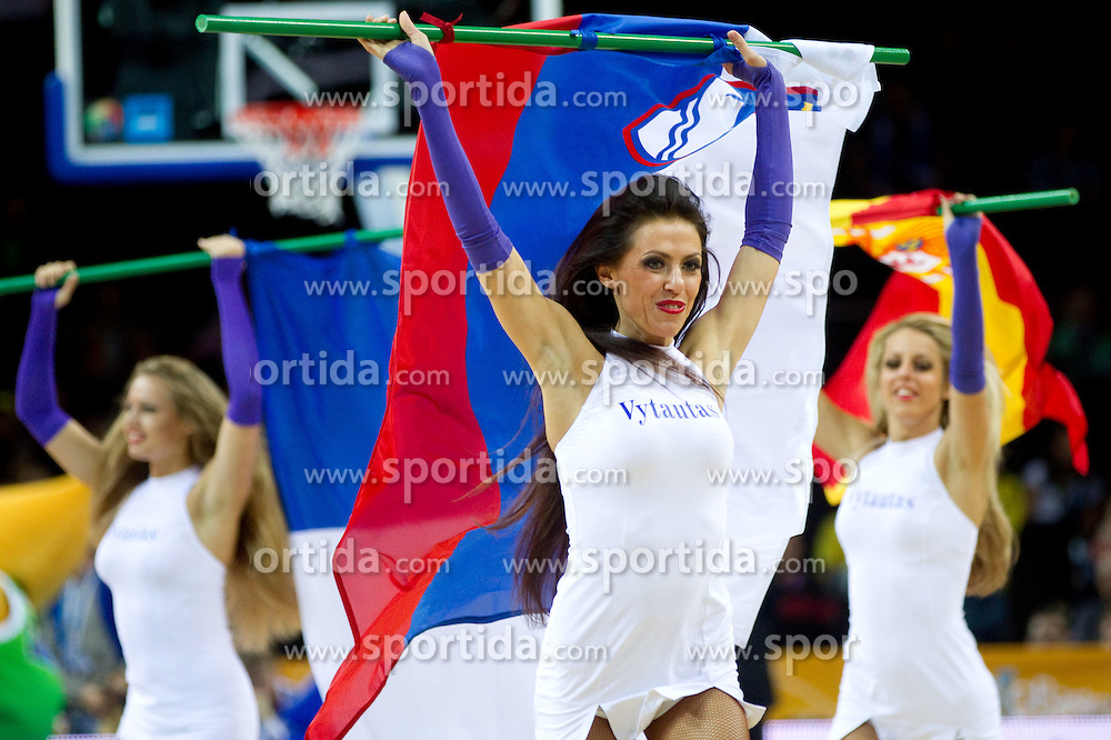 Cheerleader with Slovenian flag during basketball game between National basketball teams of Slovenia and Lithuania at of FIBA Europe Eurobasket Lithuania 2011, on September 15, 2011, in Arena Zalgirio, Kaunas, Lithuania. Lithuania defeated Slovenia 80-77.  (Photo by Vid Ponikvar / Sportida)
