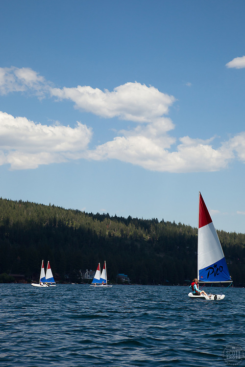 """""""Laser Sailboats on Donner Lake 2"""" - These Pico Laser sailboats were photographed on Donner Lake, CA"""