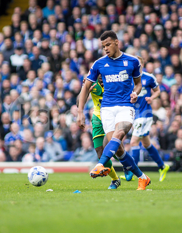 Tyrone Mings of Ipswich Town during the Sky Bet Championship Play Off 1st Leg match between Ipswich Town and Norwich City at Portman Road, Ipswich, England on 9 May 2015. Photo by Liam McAvoy.