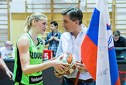 Maja Erkic of Slovenia and Borut Pahor with a gift - ball after the basketball match between Women National Teams of Slovenia and Lithuania in Qualifications of EuroBasket Women 2017, on November 19, 2016 in Gimnazija Celje, Slovenia. Photo by Vid Ponikvar / Sportida