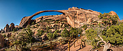 Landscape Arch, Devils Garden Trail, Arches National Park, Moab, Utah, USA. This image was stitched from multiple overlapping photos. A thick underground salt bed underlies the creation of the park's many arches, spires, balanced rocks, sandstone fins, and eroded monoliths. Some 300 million years ago, a sea flowed into the area and eventually evaporated to create the salt bed up to thousands of feet thick. Over millions of years, the salt bed was covered with debris eroded from the Uncompahgre Uplift to the northeast. During the Early Jurassic (about 210 million years ago) desert conditions deposited the vast Navajo Sandstone. On top of that, about 140 million years ago, the Entrada Sandstone was deposited from stream and windblown sediments. Later, over 5000 feet (1500 m) of younger sediments were deposited and then mostly worn away, leaving the park's arches eroded mostly within the Entrada formation.