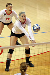 06 November 2015:  Kaitlyn Hunt(17) backs up Aly Dawson(12) during an NCAA women's volleyball match between the Bradley Braves and the Illinois State Redbirds at Redbird Arena in Normal IL (Photo by Alan Look)