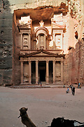 Middle East, Jordan, Petra, UNESCO World Heritage Site. The facade of the Treasury (El Khazneh)