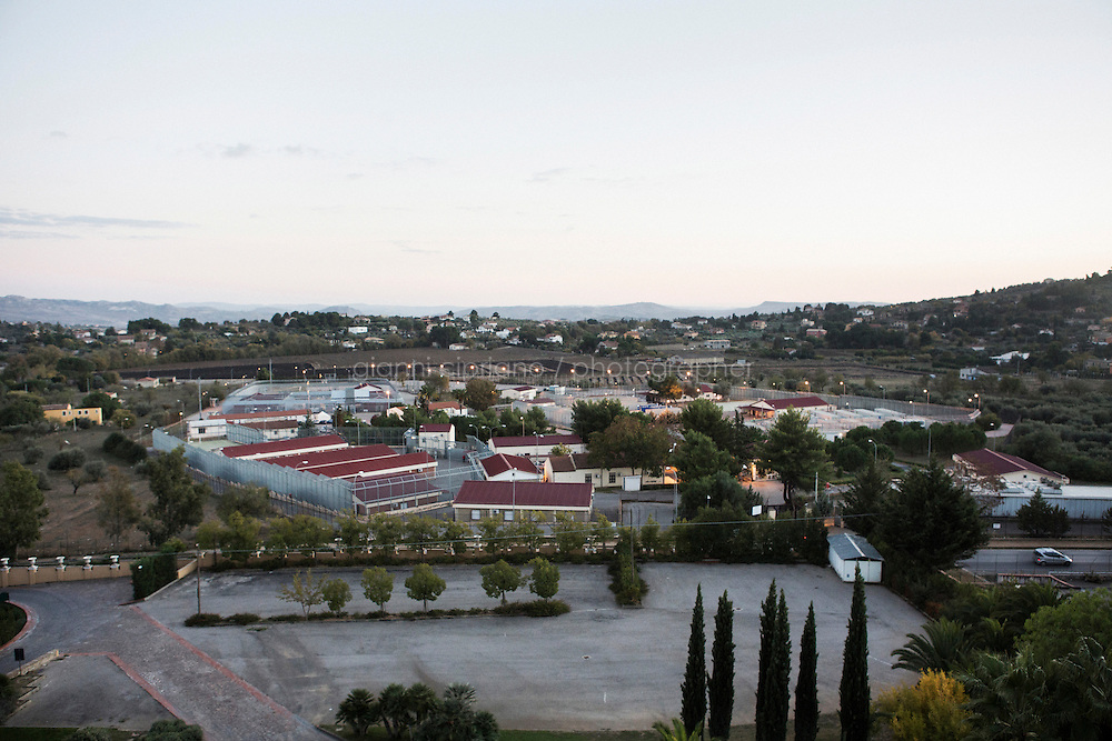 CALTANISSETTA, ITALY - 13 NOVEMBER 2014:  View of the Pian del Lago CARA (Accommodation Centre for Asylum Seekers) in Caltanissetta, Italy, on November 13th 2014. To this date, the Pian de Lago CARA hosts 491 asylum seekers, while 40 illegal immigrants are held in the CIE (Center for Identification and Deportation), before being deported.