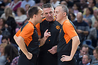Referee team Sergio Silva, Sreten Radovic and Carmelo Paternico during Turkish Airlines Euroleague match between Real Madrid and FC Barcelona Lassa at Wizink Center in Madrid, Spain. December 14, 2017. (ALTERPHOTOS/Borja B.Hojas)
