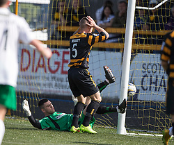 Alloa Athletic's Daryll Meggatt after Hibs goal.<br /> half time : Alloa Athletic 0 v 1 Hibernian, Scottish Championship game played 30/8/2014 at Alloa Athletic's home ground, Recreation Park, Alloa.