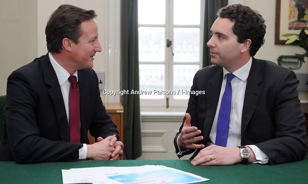 Leader of the Conservative Party David Cameron with Edward Timpson, Member of Parliament for Crewe and Nantwich in his office in Norman Shaw South, January 18, 2010. Photo By Andrew Parsons / i-Images.