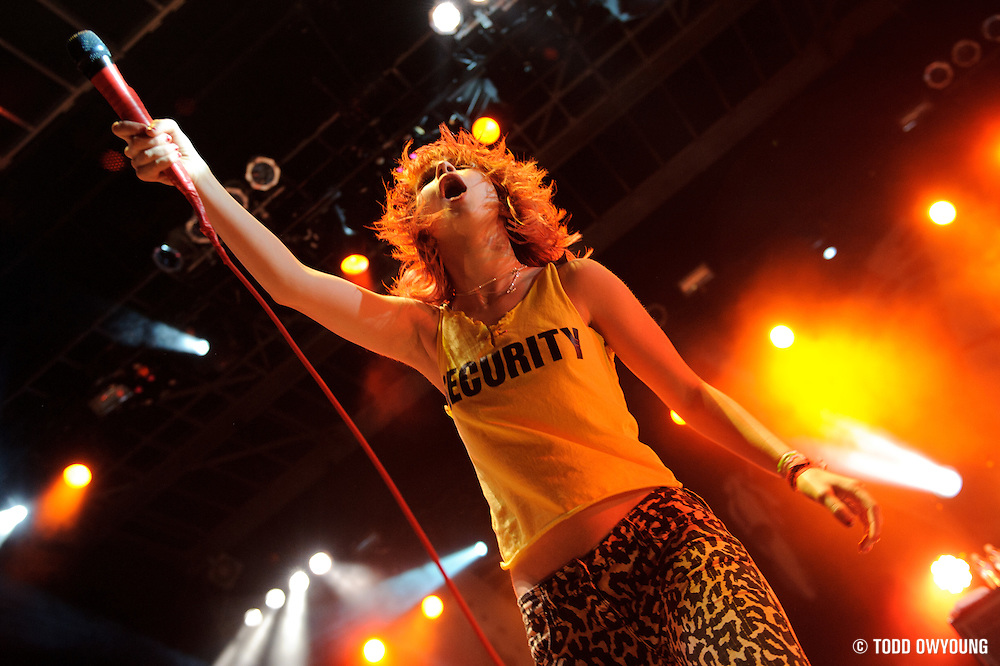 Paramore performing at The Bamboozle in East Rutherford, New Jersey on May 1, 2010.