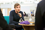Deadpool actor Ed Skrein speaks with cast members of Phoenix Rising during rehearsals in a former Santander building near Great Portland Street.<br /> The full-scale production, which runs from 8th Nov - 2nd of Dec 2017 under Smithfield Meat Market, has been put together by charity The Big House, a charity that helps troubled youths who have been in care.