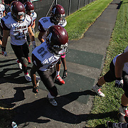 Appoquinimink players take the field for the start of second half against William Penn Saturday, Oct. 10, 2015 at Bill Cole Stadium in New Castle, DE.