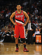 Dec. 10 2010; Phoenix, AZ, USA; Portland Trailblazers guard Brandon Roy (7) reacts on the court during the first half against the Phoenix Suns at the US Airways Center. The Trailblazers defeated the Suns 101-94. Mandatory Credit: Jennifer Stewart-US PRESSWIRE.