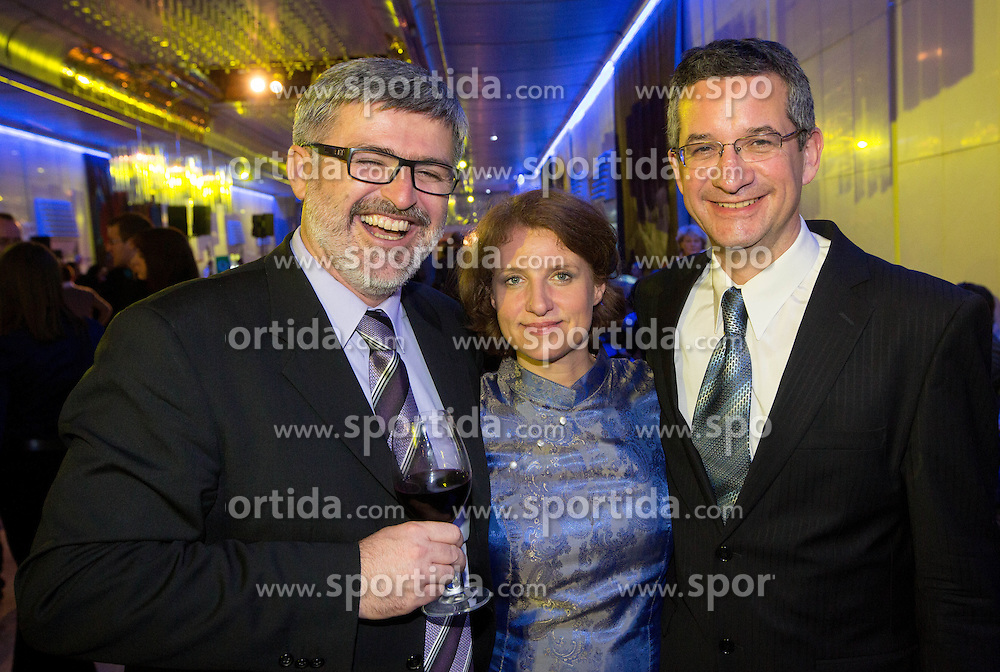 Roman Jakic, Metka Debevec and husband Rajmond Debevec at Slovenian Sports personality of the year 2012 annual awards presented on the base of Slovenian sports reporters, on December 20, 2011 in Cankarjev dom, Ljubljana, Slovenia. (Photo By Vid Ponikvar / Sportida.com)