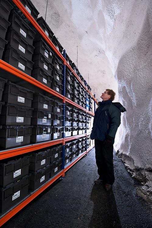 "Cary Fowler at the Svalbard Global Seed Bank, also known as the ""Doomsday"" seed bank, in Longyearbyen, Svalbard, Norway.  Dug into the frozen mountainside above the town, the seedbank is a last chance repository for millions of seeds, that could be used to restore agriculture should a disaster wipe out many of the plants we depend upon for food."