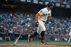 SAN FRANCISCO, CA - JUNE 12: Kevin Pillar #1 of the San Francisco Giants hits a home run against the San Diego Padres during the second inning at Oracle Park on June 12, 2019 in San Francisco, California. The San Francisco Giants defeated the San Diego Padres 4-2. (Photo by Jason O. Watson/Getty Images) *** Local Caption *** Kevin Pillar