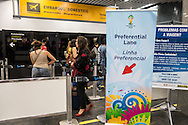 The FIFA priority lane at Rio de Janeiro International Airport. FIFA accredited individuals are allowed to fast track at checkin and security.Photo by Andrew Tobin/Tobinators Ltd