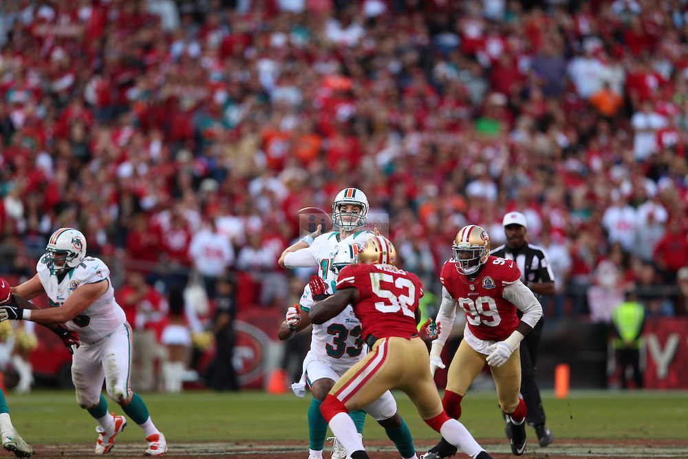Miami Dolphins quarterback Ryan Tannehill (17) in action against the San Francisco 49ers during an NFL game at Candlestick Park on December 9, 2012 in San Francisco, CA.  (Photo by Jed Jacobsohn)