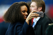 Miss France 2017 Alicia Aylies poses for a photograph during the UEFA Women's Champions League, quarter final football match, 2nd leg between Paris Saint-Germain and Bayern Munich on March 29, 2017 at Parc des Princes stadium in Paris, France - Photo Benjamin Cremel / ProSportsImages / DPPI
