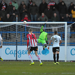 TELFORD COPYRIGHT MIKE SHERIDAN GOAL. James Jones of Altrincham scores to make it 2-2 during the Vanarama Conference North fixture between AFC Telford United and Altrincham at The New Bucks Head on Saturday, February 1, 2020.<br /> <br /> Picture credit: Mike Sheridan/Ultrapress<br /> <br /> MS201920-044