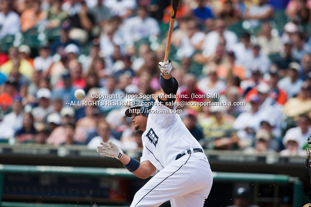 25 July 2010: Detroit Tigers first baseman Miguel Cabrera (24) makes contact with the ball on a swing at bat during the Toronto Blue Jays at Detroit Tigers Major League Baseball game, at Comerica Park, in Detroit, Michigan. Toronto won 5-3.