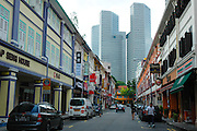 Shophouses on a lane in the city centre, Singapore