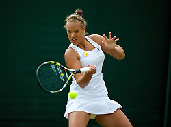 LONDON, ENGLAND - Monday, June 30, 2014: Freya Christie (GBR) during the Girls' Singles 1st Round match on day seven of the Wimbledon Lawn Tennis Championships at the All England Lawn Tennis and Croquet Club. (Pic by David Rawcliffe/Propaganda)