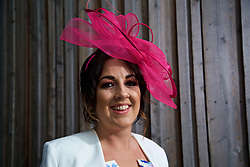 LIVERPOOL, ENGLAND - Thursday, April 6, 2017: Stephanie Smith, 29 from Maghull, wearing a dress from 1 Nation and hat from Debenhams, during The Opening Day on Day One of the Aintree Grand National Festival 2017 at Aintree Racecourse. (Pic by David Rawcliffe/Propaganda)