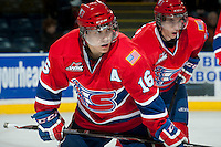 KELOWNA, CANADA - MARCH 5: Mike Aviani #16 of the Spokane Chiefs lines up against the Kelowna Rockets on March 5, 2014 at Prospera Place in Kelowna, British Columbia, Canada.   (Photo by Marissa Baecker/Getty Images)  *** Local Caption *** Mike Aviani;