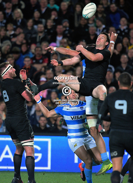 Ben Smith goes up for the ball during The Rugby Championship match between the NZ All Blacks and Argentina Pumas at FMG Stadium in Hamilton, New Zealand on Saturday, 10 September 2016. Photo: Dave Lintott / lintottphoto.co.nz