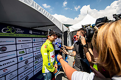 Stage winner Diego Ulissi (ITA) of UAE Team Emirates with journalists during 3rd Stage of 26th Tour of Slovenia 2019 cycling race between Zalec and Idrija (169,8 km), on June 21, 2019 in Slovenia. Photo by Vid Ponikvar / Sportida