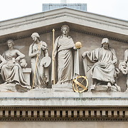 A very high resolution panorama of the sculptures above the main entrance to the British Museum. The British Museum in downtown London us dedicated to human history and culture and has about 8 million works in its permanent collection.