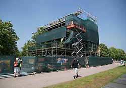© Licensed to London News Pictures. 08/05/2018. Windsor, UK. A large stand containing television studios is being built on The Long Walk near Windsor Castle ahead of the Royal Wedding of Prince Harry and Meghan Markle. With 12 days to go there is lots of activity in and around the grounds of Windsor Castle. Photo credit: Peter Macdiarmid/LNP