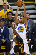 Golden State Warriors guard Shaun Livingston (34) pulls up for a jumper against the Cleveland Cavaliers during Game 2 of the NBA Finals at Oracle Arena in Oakland, Calif., on June 4, 2017. (Stan Olszewski/Special to S.F. Examiner)