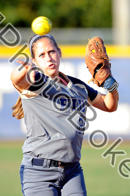 2015 February 13 - FIU's Jessica Hallet (24). Florida International University defeated Memphis, 3-2, at the Felsberg Field at the FIU Softball Stadium, Miami, Florida. (Photo by: Alex J. Hernandez / photobokeh.com) This image is copyright by PhotoBokeh.com and may not be reproduced or retransmitted without express written consent of PhotoBokeh.com. ©2015 PhotoBokeh.com - All Rights Reserved