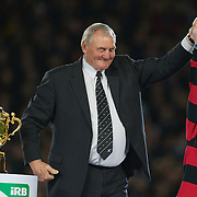 Sir Brian Lochore delivers the Webb Ellis Trophy to the podium after the final between New Zealand and France at the IRB Rugby World Cup tournament, Eden Park, Auckland, New Zealand. 23rd October 2011. Photo Tim Clayton...