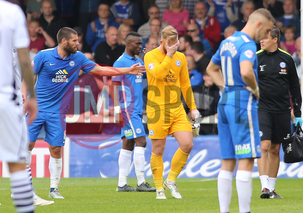 Ben Alnwick of Peterborough United leaves the pitch after getting injured - Mandatory byline: Joe Dent/JMP - 07966 386802 - 03/10/2015 - FOOTBALL - ABAX Stadium - Peterborough, England - Peterborough United v Millwall - Sky Bet League One