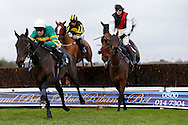 Barry Geraghty riding Regal Encore clears an early fence before winning the SIS Novices´ Chase at Plumpton Racecourse - 13 Dec 2015