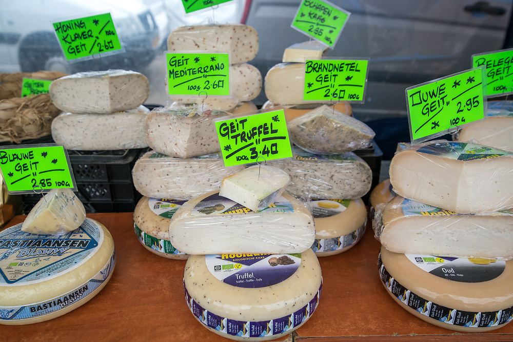 Full frame of blocks of cheese in Amsterdam, Netherlands