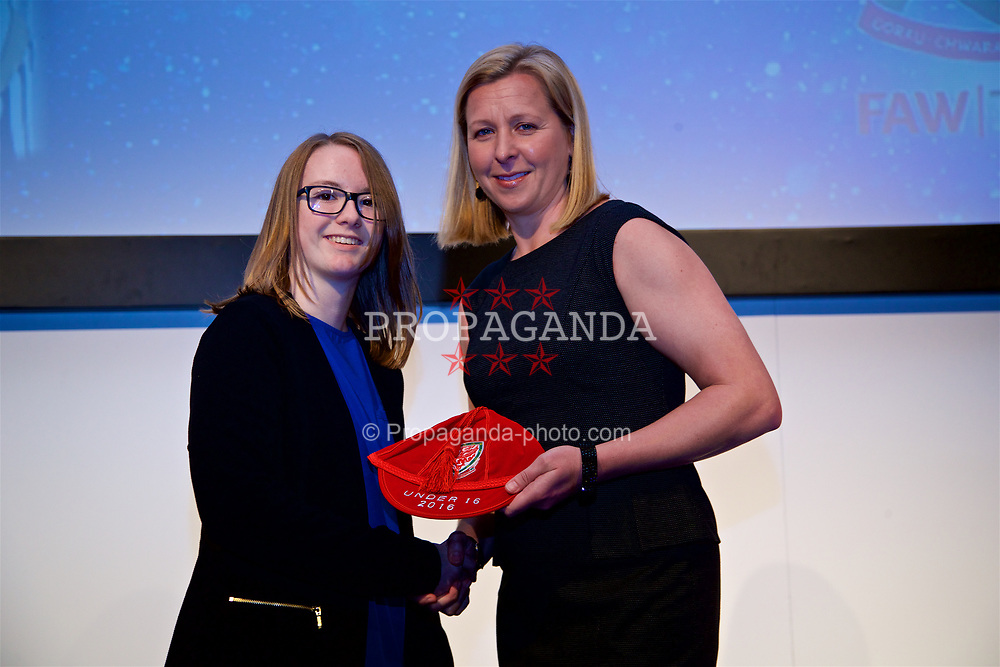 NEWPORT, WALES - Saturday, May 27, 2017: Ruth Stanley receives her Under-16 Wales cap from Wales women's team manager Jayne Ludlow at the Celtic Manor Resort. (Pic by David Rawcliffe/Propaganda)