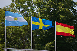 LIVERPOOL, ENGLAND - Sunday, June 22, 2014: Flags during Day Four of the Liverpool Hope University International Tennis Tournament at Liverpool Cricket Club. (Pic by David Rawcliffe/Propaganda)