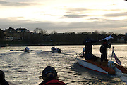 Putney, London.  Pre Varsity Boat race fixture. Sir Matthew PINSENT, Umpire, warns GB U23, as they come close to clashing blades, Cambridge UBC.[Blue Boat] vs GBR U23 crew raced over parts of the Championship Course, [Putney to Mortlake].  Race divided into two trials. 1. Start to Hammersmith Pier. 2. Chiswick Eyot to Finish. River Thames. Saturday   26/02/2011 [Mandatory Credit -Karon Phillips/Intersport Images]..Crews:.CAMBRIDGE [Blue Boat] Bow,  Mike THORP, Joel JENNINGS,  Dan RIX-STANDING,  Hardy CUBASCH,  George NASH,  Geoff ROTH , Derek RASMUSSEN, Stroke David NELSON and Cox Tom FIELDMAN..GB Under-23s Bow, Oliver STAITE, Jack CADMAN,  Alex TORBICA, Alex DAVIDSON, Matt TARRANT, Ertan HAZINE,  Mason DURANT,  Stroke Scott DURANT and Cox Max GANDER ..