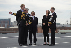 August 16, 2017 - Portsmouth, Hampshire, United Kingdom - Image ©Licensed to i-Images Picture Agency. 16/08/2017. Portsmouth, United Kingdom.....The Prime Minister of the United Kingdom, Theresa May, meets crew on board HMS Queen Elizabeth after the ship sails to it's home at Portsmouth Naval Base, Hampshire, UK for the first time.....Picture by Ben Stevens / i-Images (Credit Image: © Ben Stevens/i-Images via ZUMA Press)