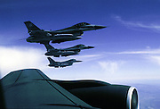 F-16s off wing of KC-135  refueling jet