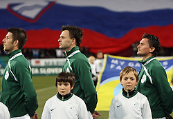 Bostjan Cesar, Suad Filekovic and Andraz Kirm of Slovenia listening to the national anthem before the 8th day qualification game of 2010 FIFA WORLD CUP SOUTH AFRICA in Group 3 between Slovenia and Czech Republic at Stadion Ljudski vrt, on March 28, 2008, in Maribor, Slovenia. Slovenia vs Czech Republic 0 : 0. (Photo by Vid Ponikvar / Sportida)
