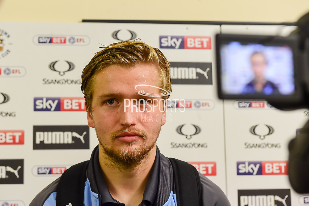 Luton Town midfielder Luke Berry (18) is interviewed by TV after scoring a perfect hat trick during the EFL Sky Bet League 2 match between Luton Town and Stevenage at Kenilworth Road, Luton, England on 14 October 2017. Photo by Dennis Goodwin.