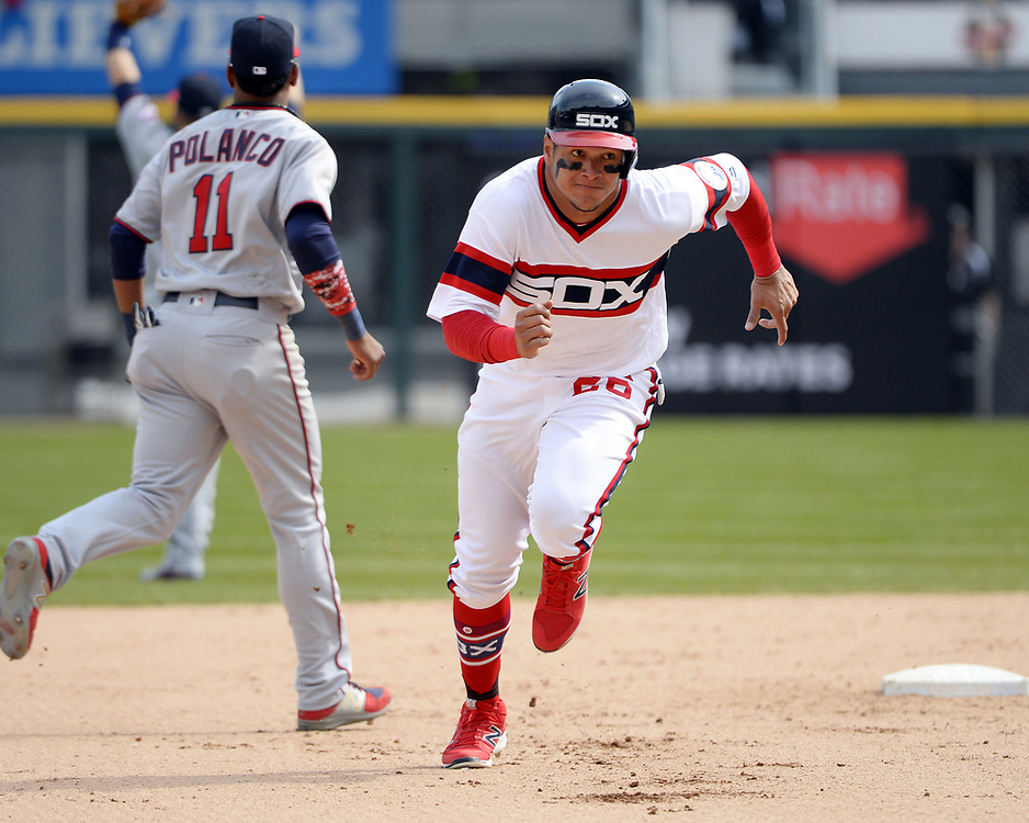 CHICAGO - APRIL 09:  Avisail Garcia #26 of the Chicago White Sox runs the bases against the Minnesota Twins on April 9, 2017 at Guaranteed Rate Field in Chicago, Illinois.  (Photo by Ron Vesely)   Subject:  Avisail Garcia