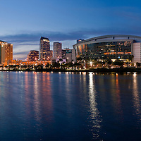 Tampa skyline and waterfront on the Hillsborough River featuring the St. Petersburg Tribune Forum and The David A. Straz, Jr. Center for the Performing Arts