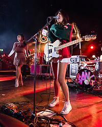 © Licensed to London News Pictures. 01/03/2014. London, UK.   Natalie BangBang and her band BangBangBang performing live at Hammersmith Apollo, supporting headliner Rizzle Kicks.  Natalie's real name is Natalie Chahal.   Photo credit : Richard Isaac/LNP